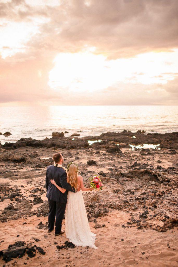 Bride & groom enjoying the sunset