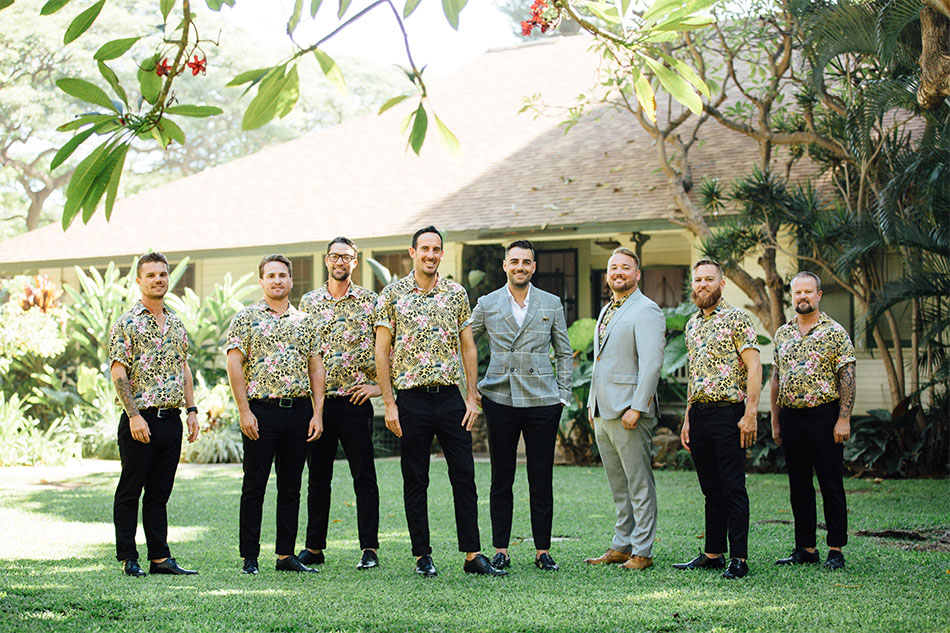 Groomsmen in Billy Aloha shirts